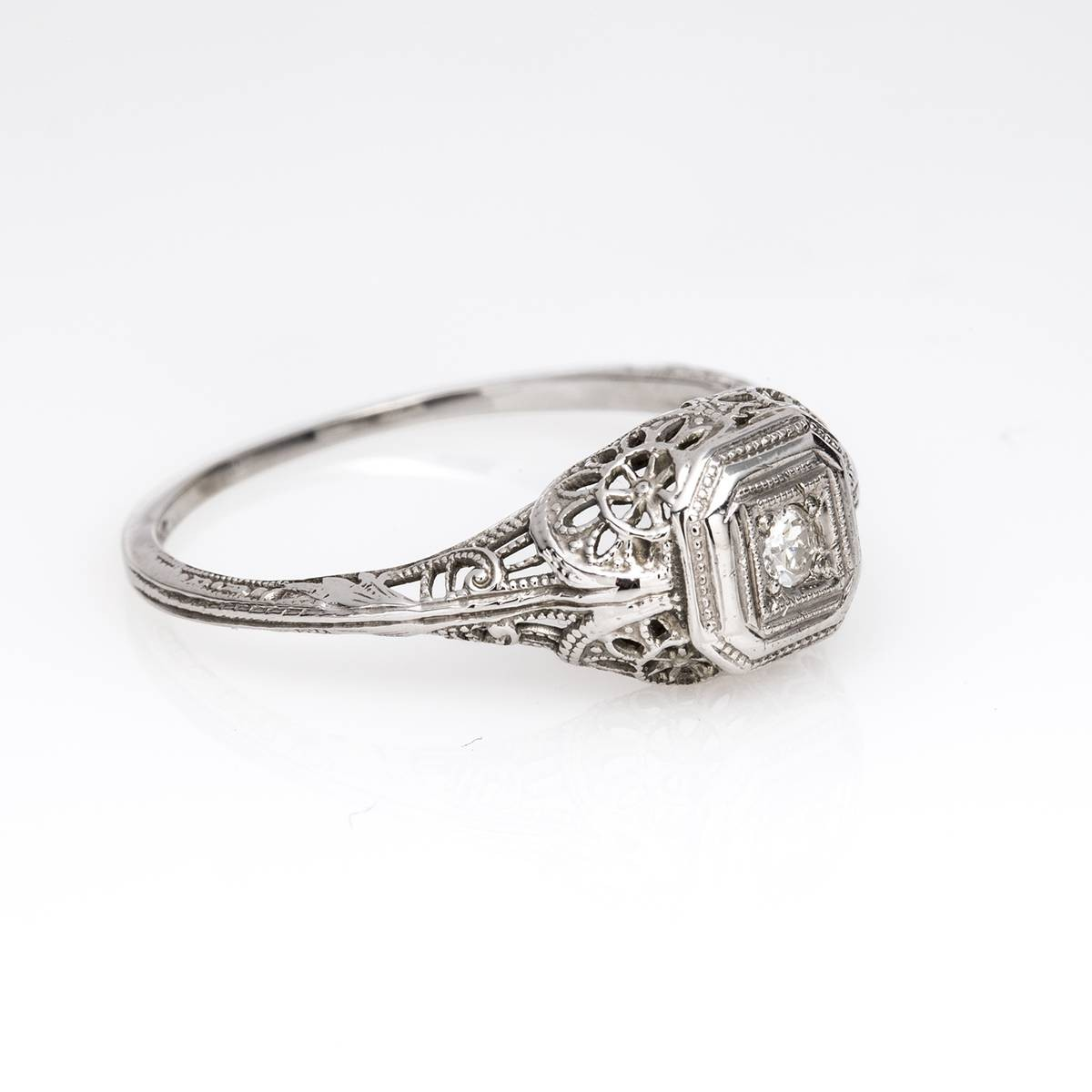 Vintage Art Deco Old European Cut Diamond Engagement Ring