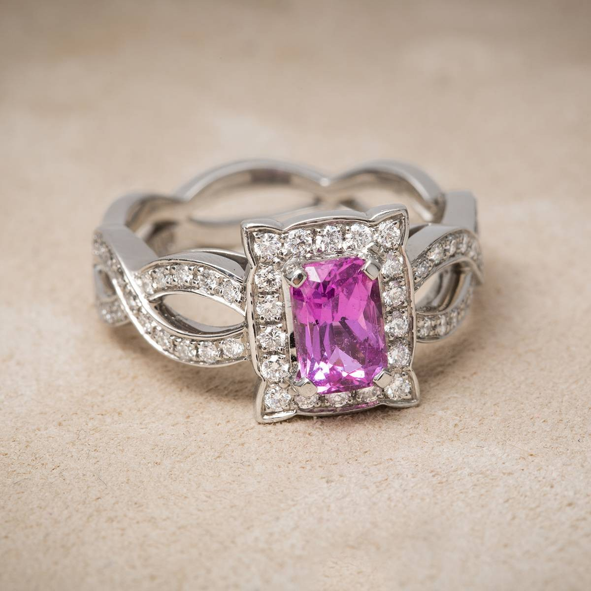 vintage platinum pink sapphire and ring