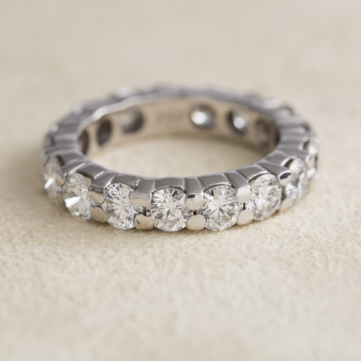 Vintage 18k White Gold and Diamond Eternity Band