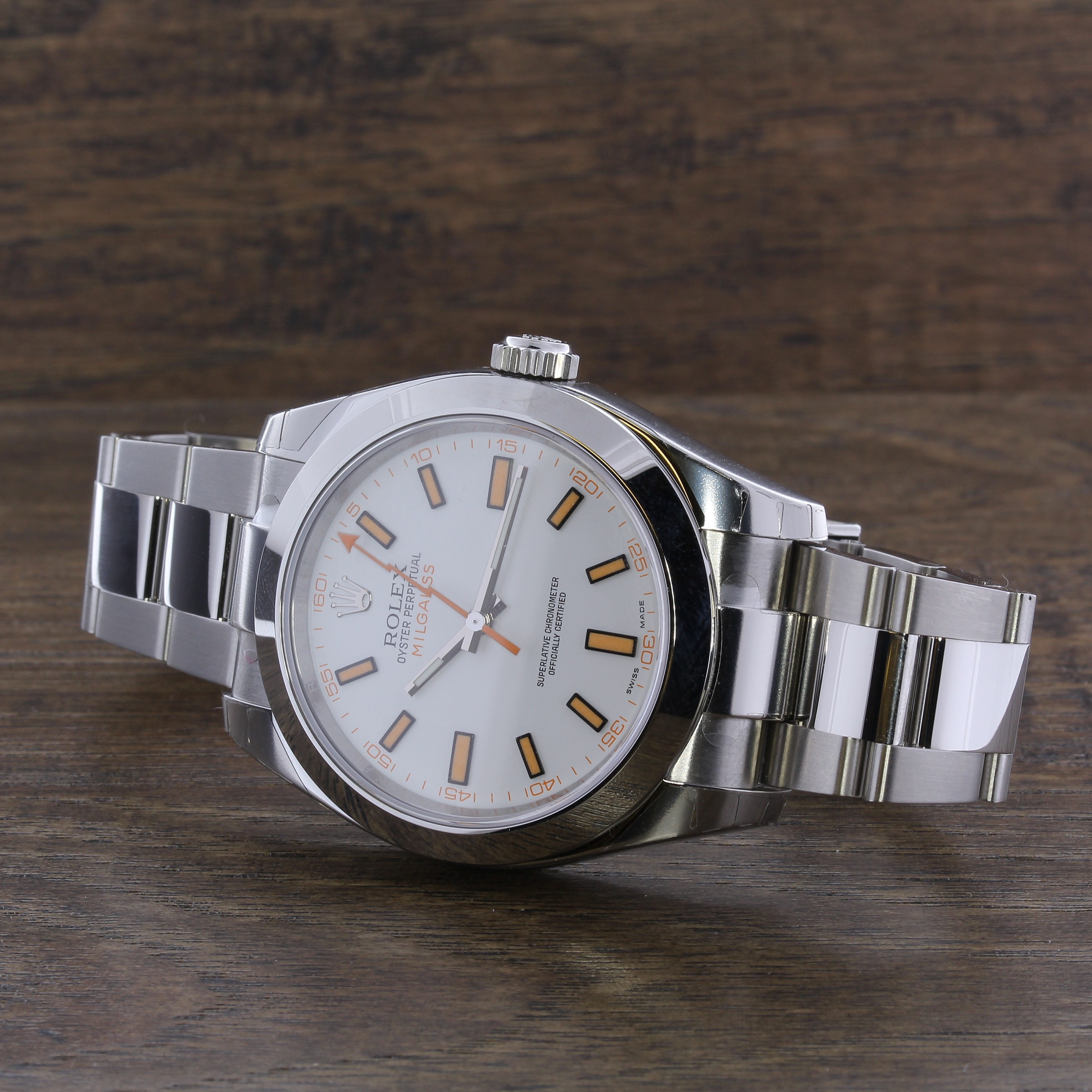 Stainless Steel 40mm Rolex Milgauss White Dial