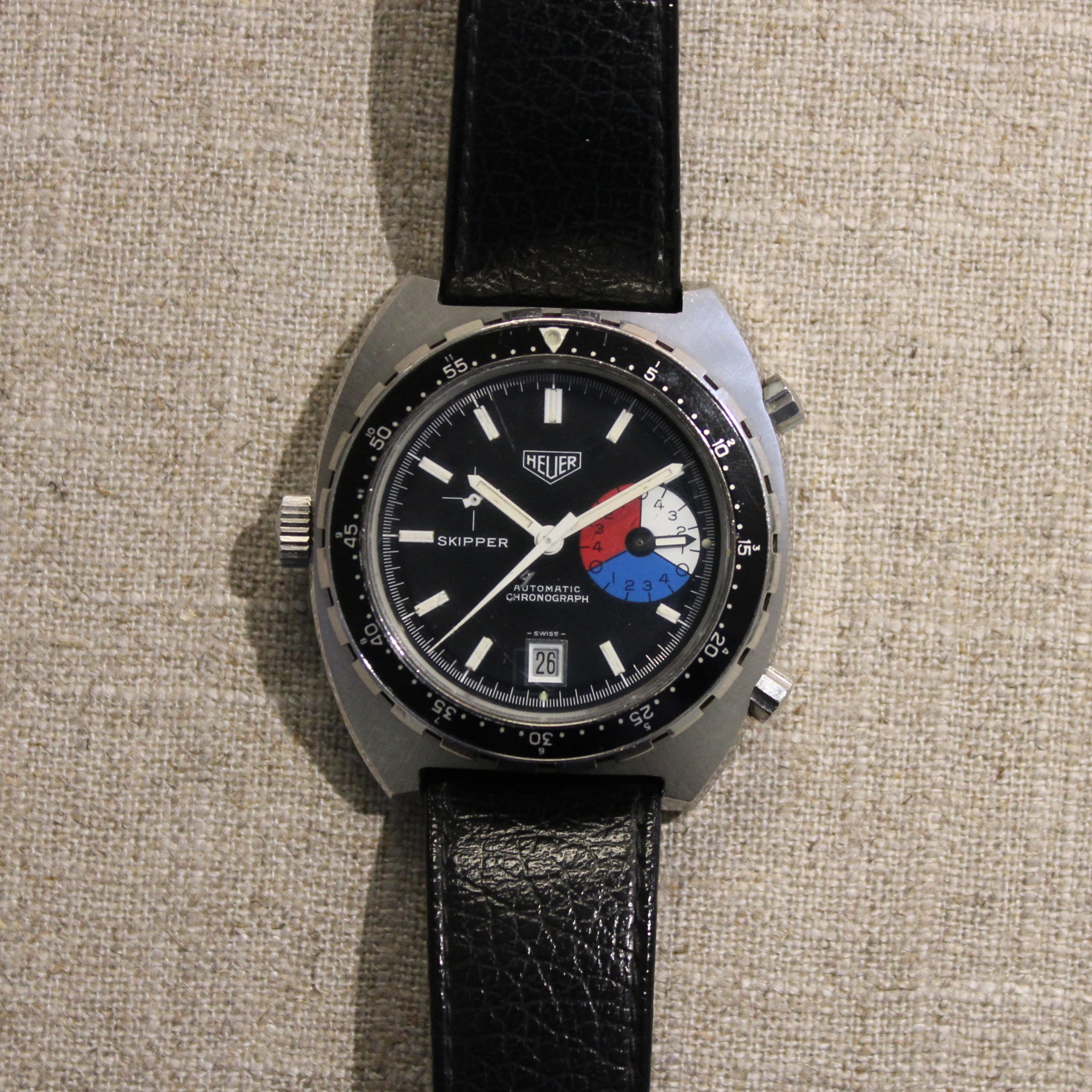 VINTAGE STAINLESS STEEL HEUER SKIPPER AUTOMATIC CHRONOGRAPH WATCH