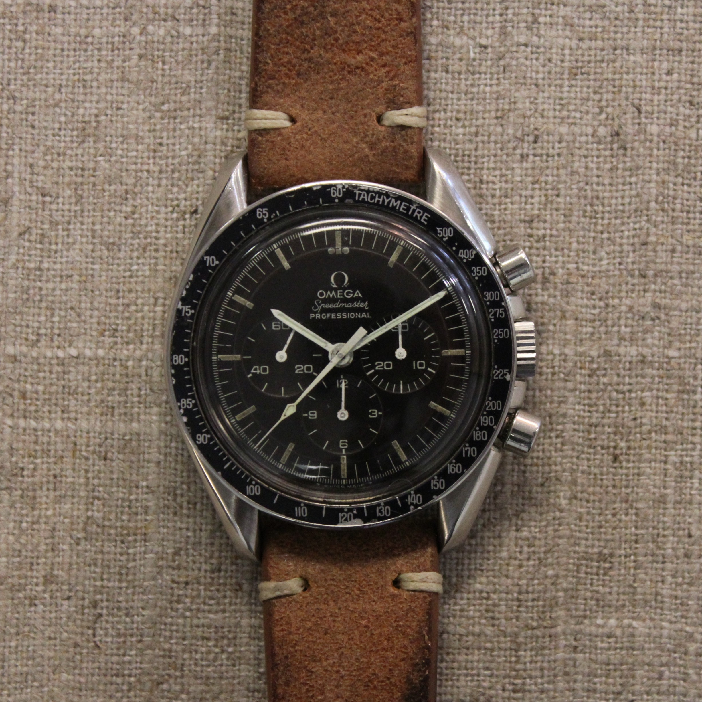 CIRCA1969 STAINLESS STEEL OMEGA SPEEDMASTER 42MM CHRONOGRAPH. REF 145022-68 ST
