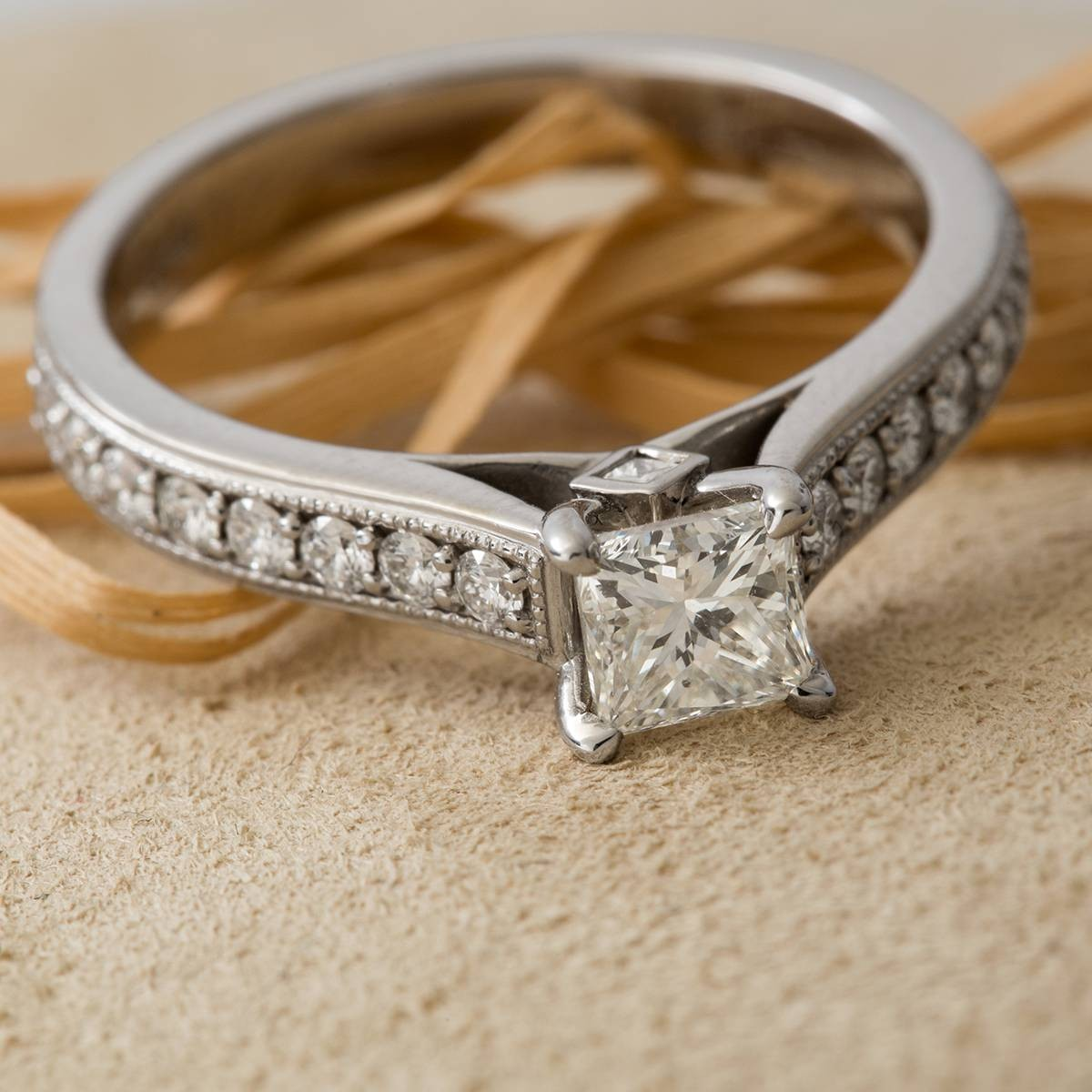 Vintage Princess Cut Diamond and 14k Gold Engagement Ring