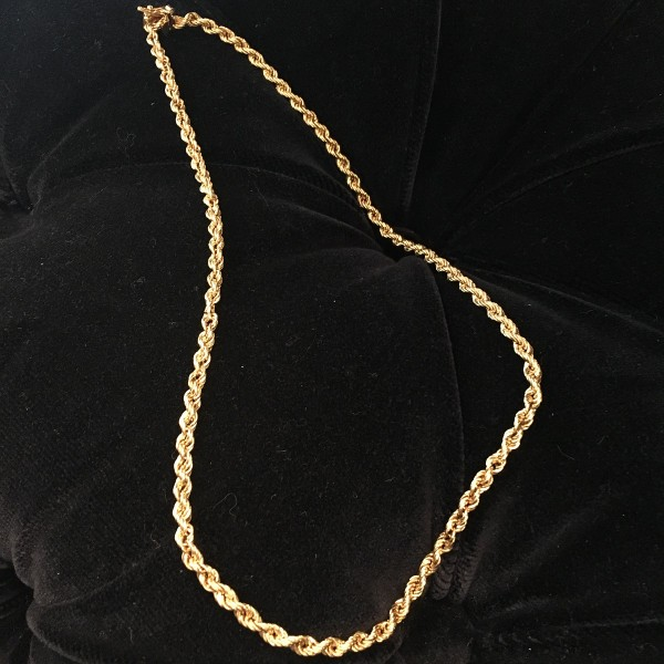Vintage 14k yellow gold 18 inch 4mm rope chain