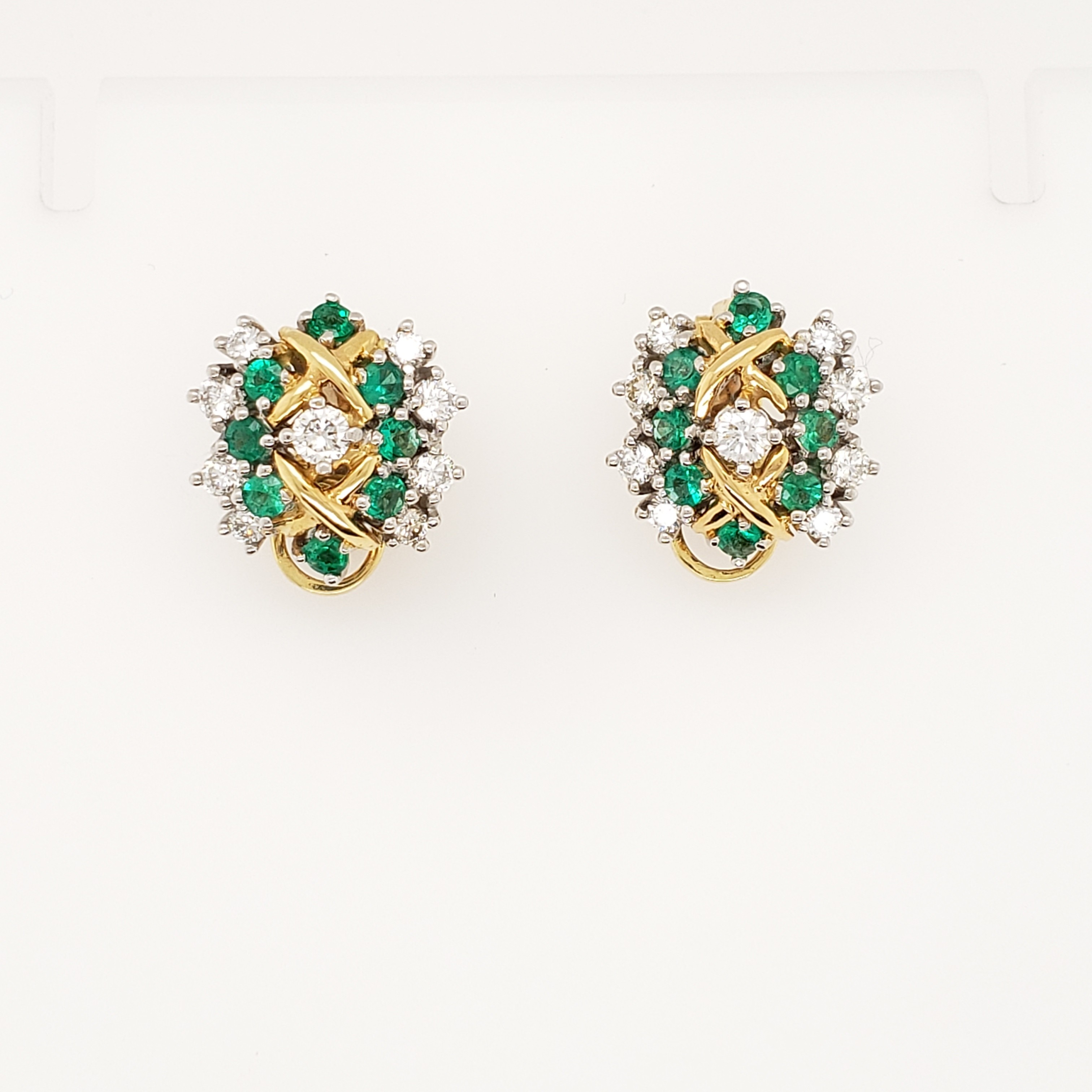 18KT DIAMOND AND  EMERALD EARRINGS