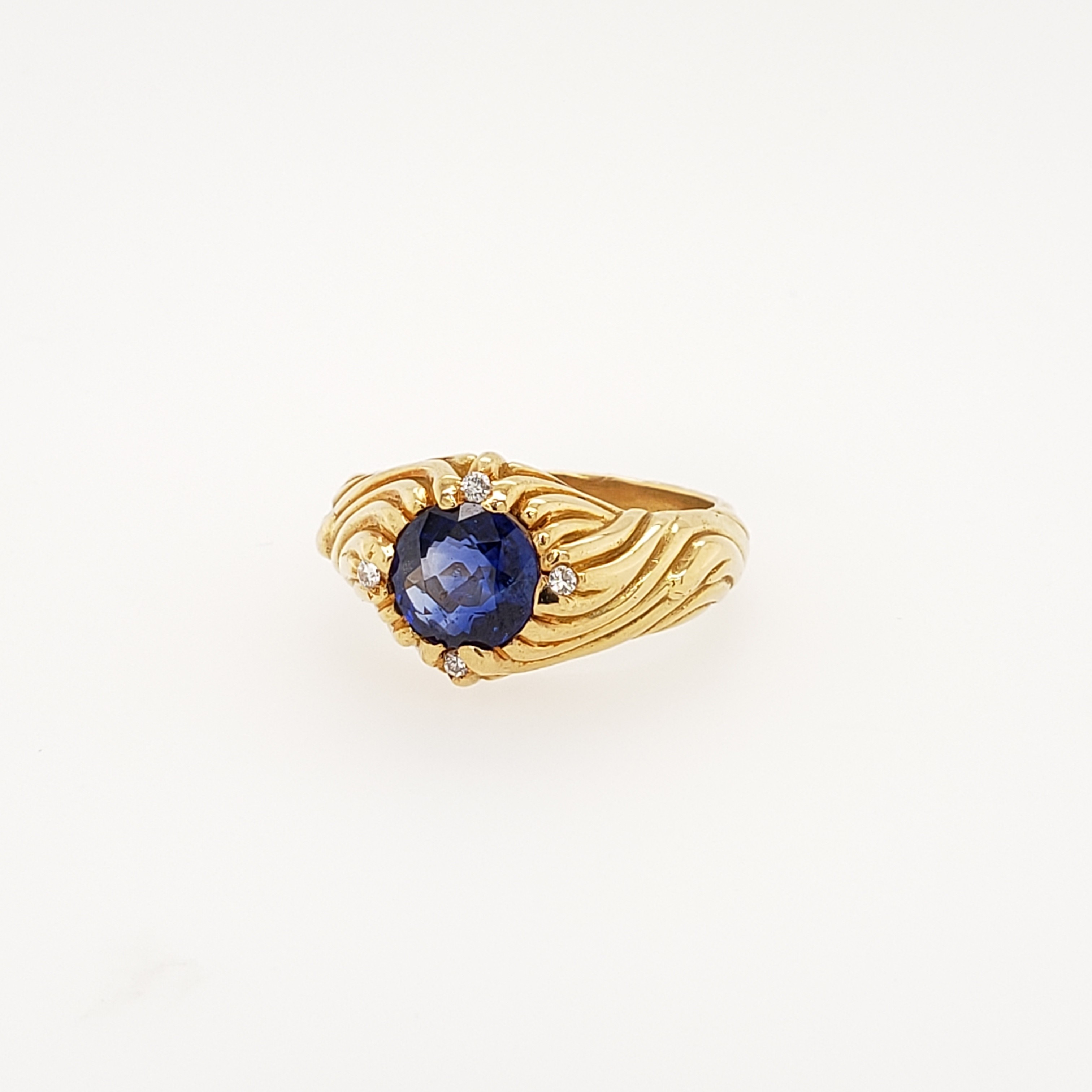 18KT YELLOW GOLD SAPPHIRE W/ DIAMOND ACCENT RING