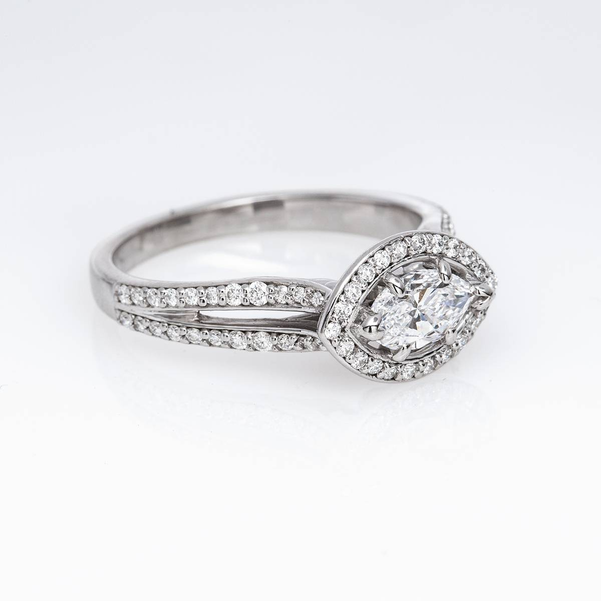 Vintage Halo Style 14k Gold and Marquise Diamond Ring