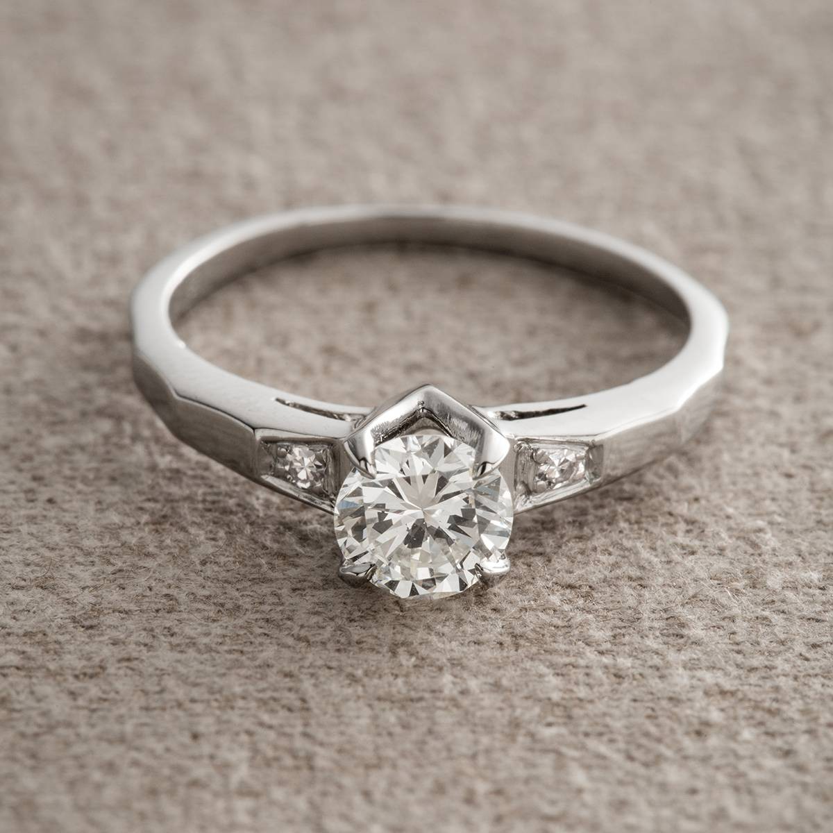 Vintage Diamond and Platinum Engagement Ring