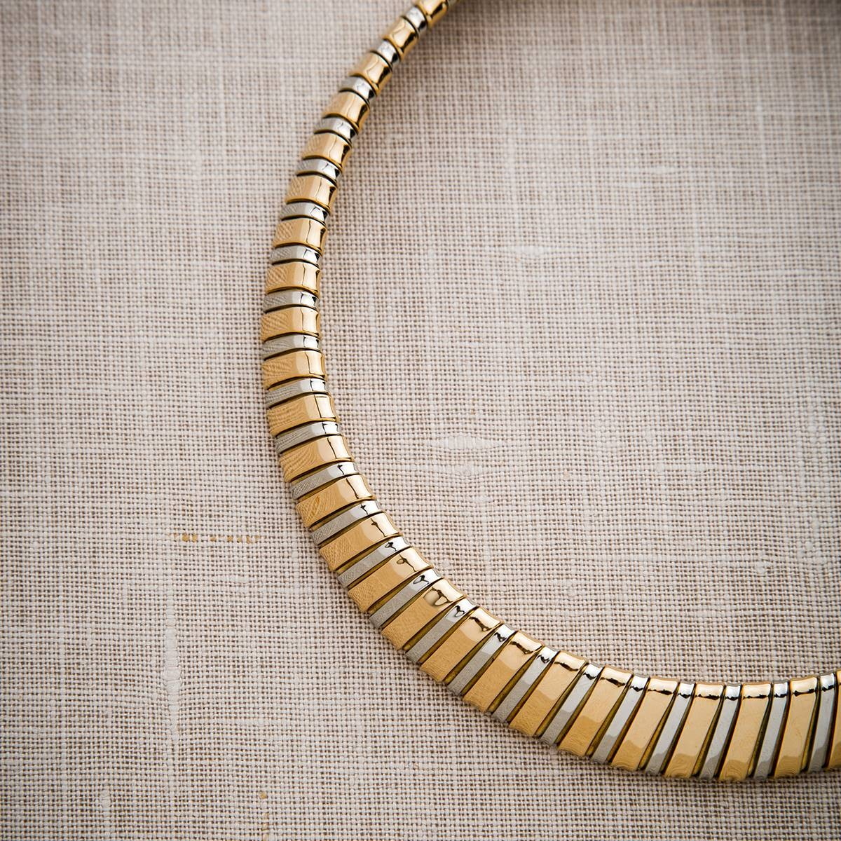 Vintage 18k Yellow and White Gold Collar Necklace