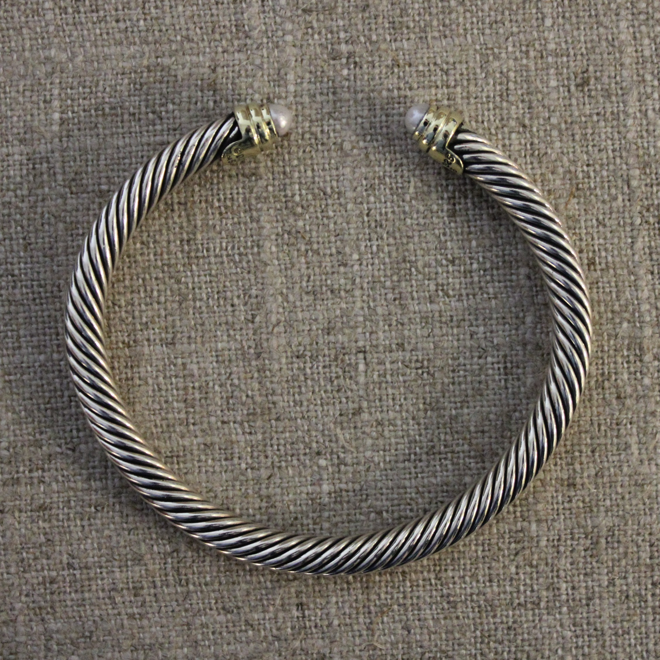 VINTAGE STERLING SILVER AND 18K YELLOW GOLD DAVID YURMAN CABLE BRACELET