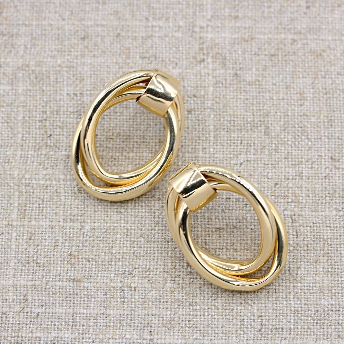 VINTAGE 14K YELLOW GOLD DOUBLE INTER LOOPED EARRINGS
