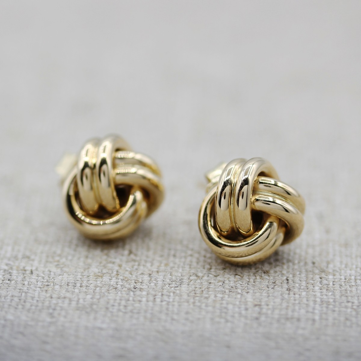VINTAGE 14K YELLOW GOLD BOW KNOT EARRING STUDS