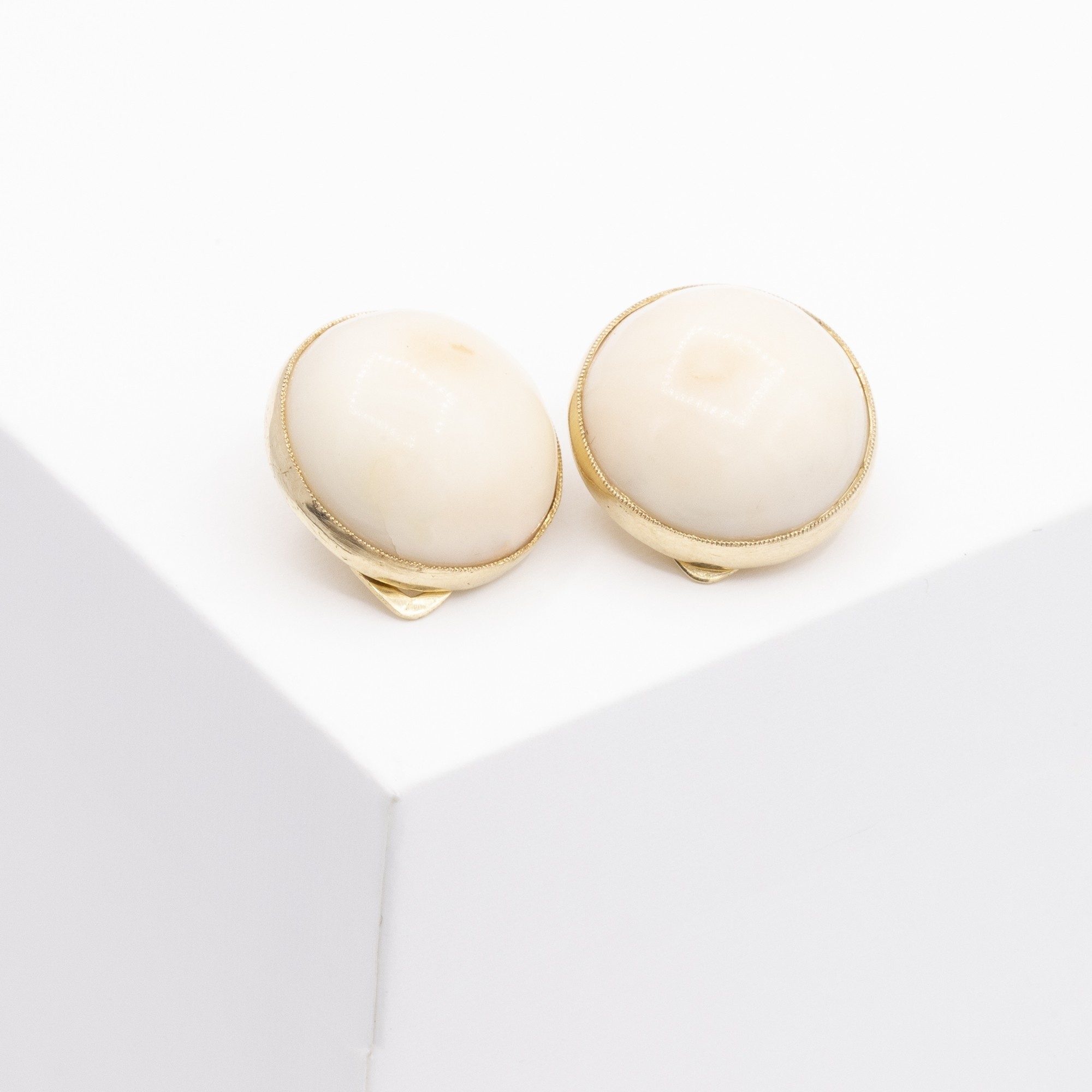 CORAL CLIP ON GOLD STUDS