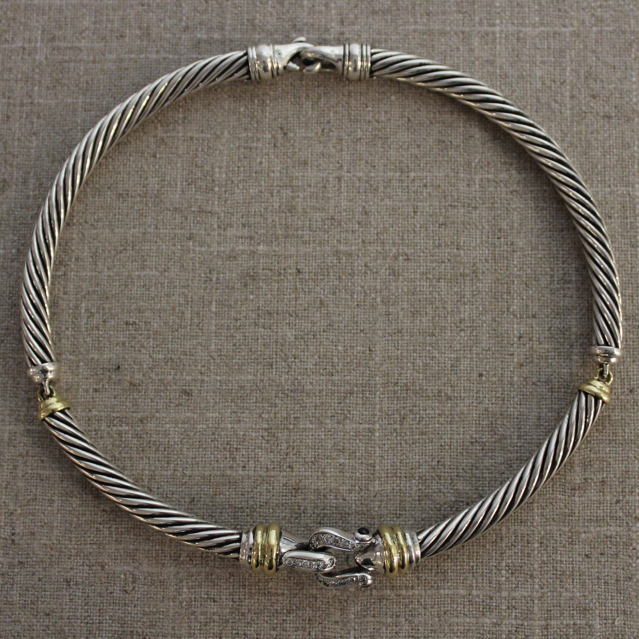 VINTAGE STERLING SILVER AND 18K YELLOW GOLD DAVID YURMAN CABLE BUCKLE NECKLACE
