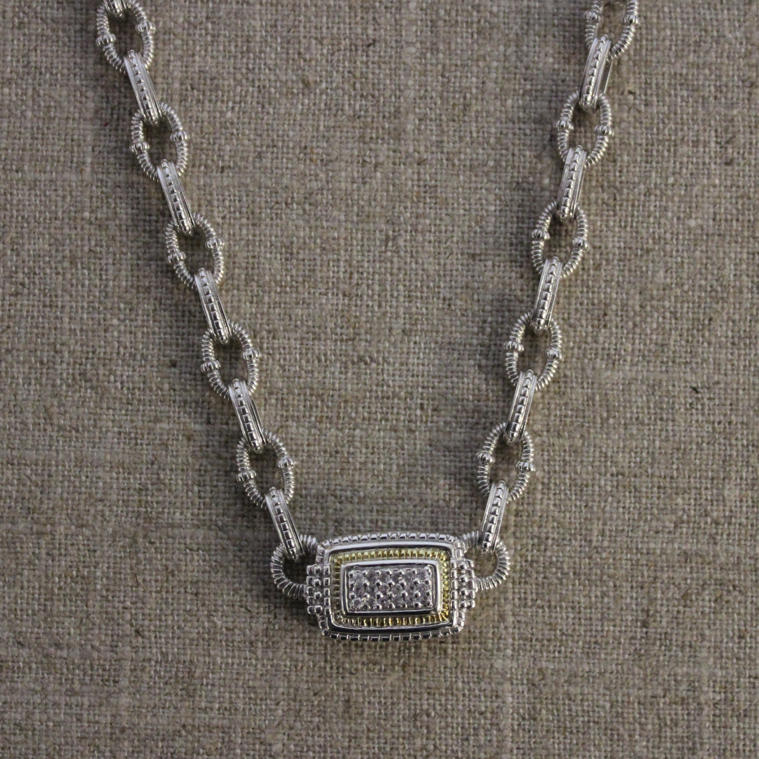 VINTAGE STERLING SILVER AND 18K YELLOW GOLD JUDITH RIPKA NECKALCE
