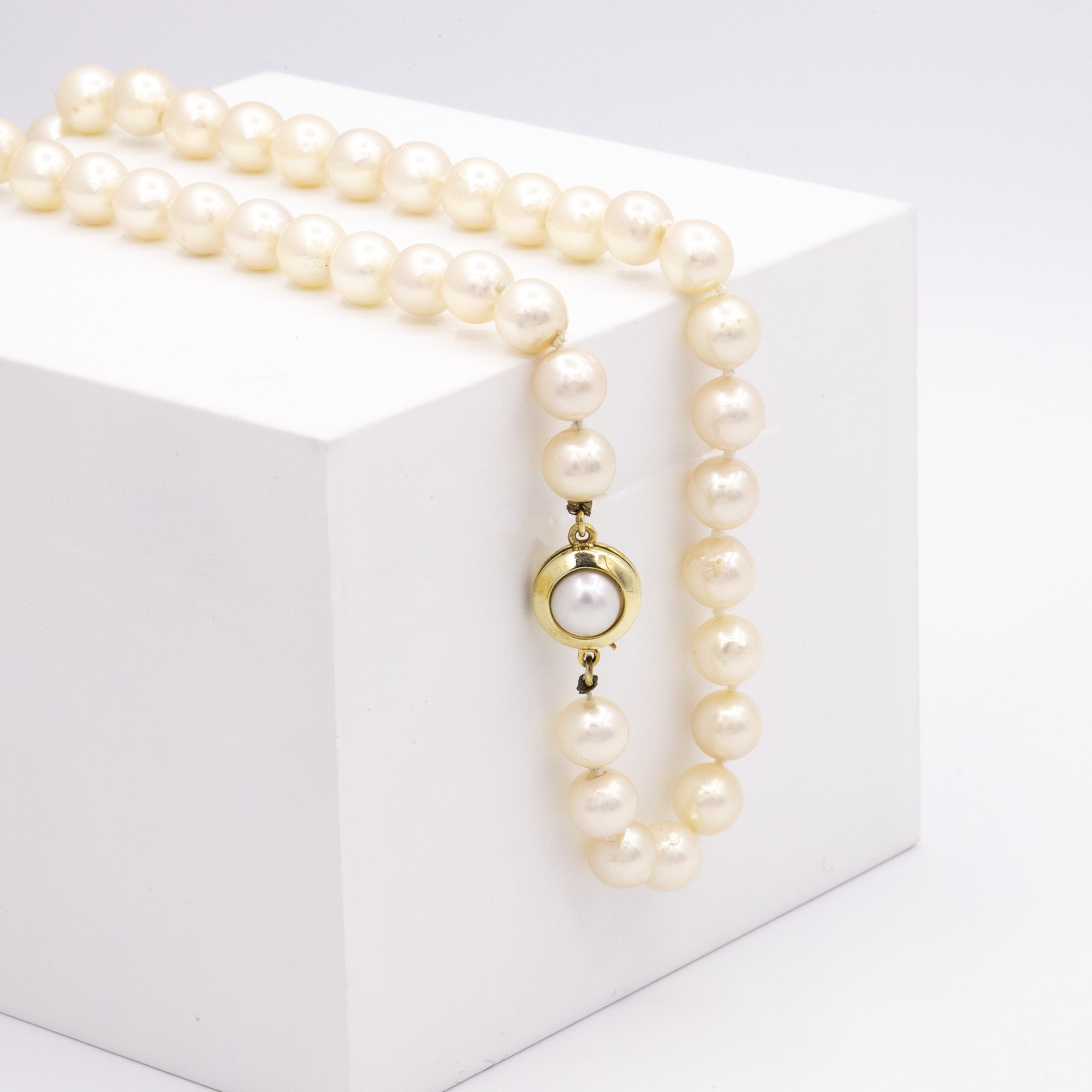 YELLOW GOLD PEARL HANK NECKLACE