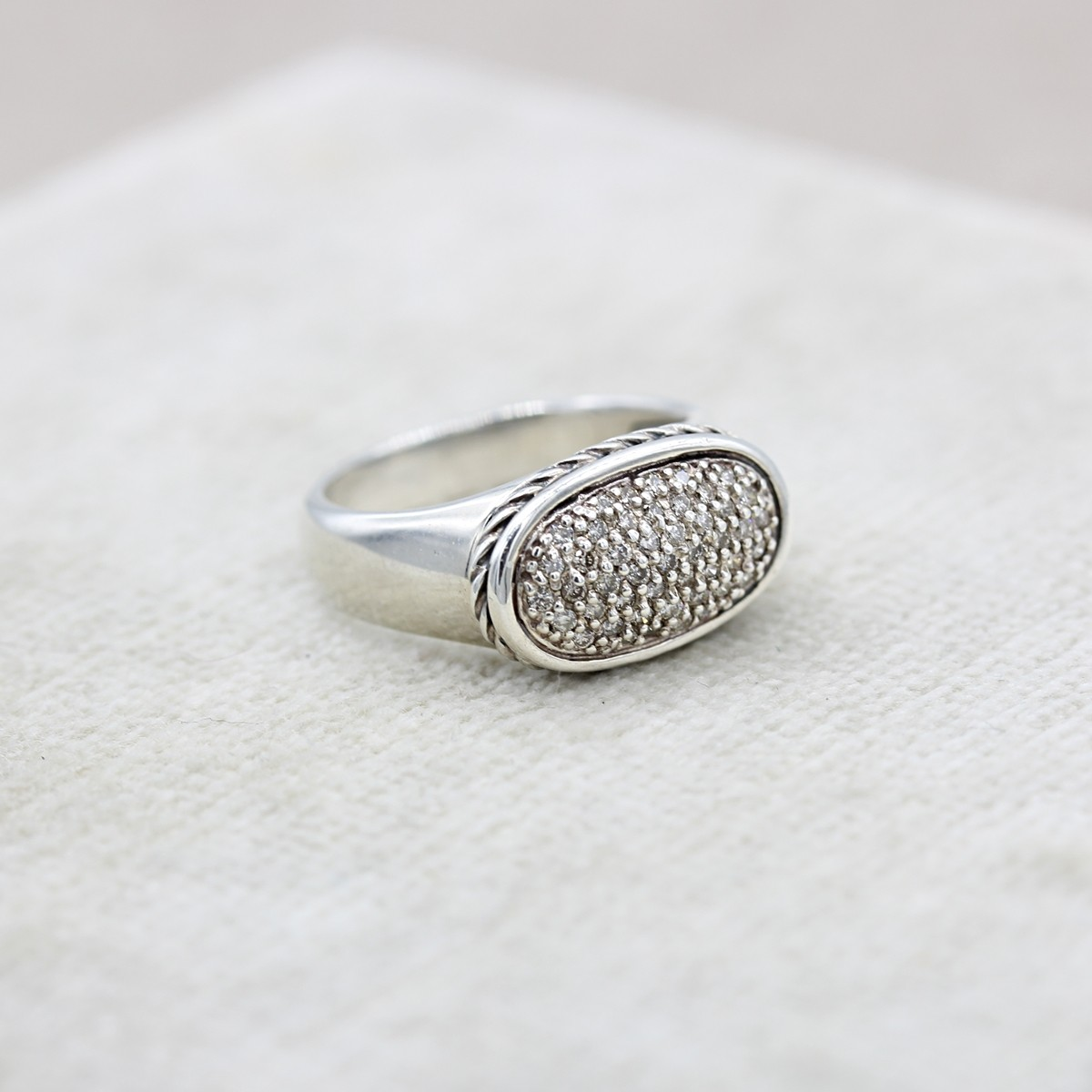 STERLING SILVER DAVID YURMAN RING WITH PAVE SET DIAMONDS