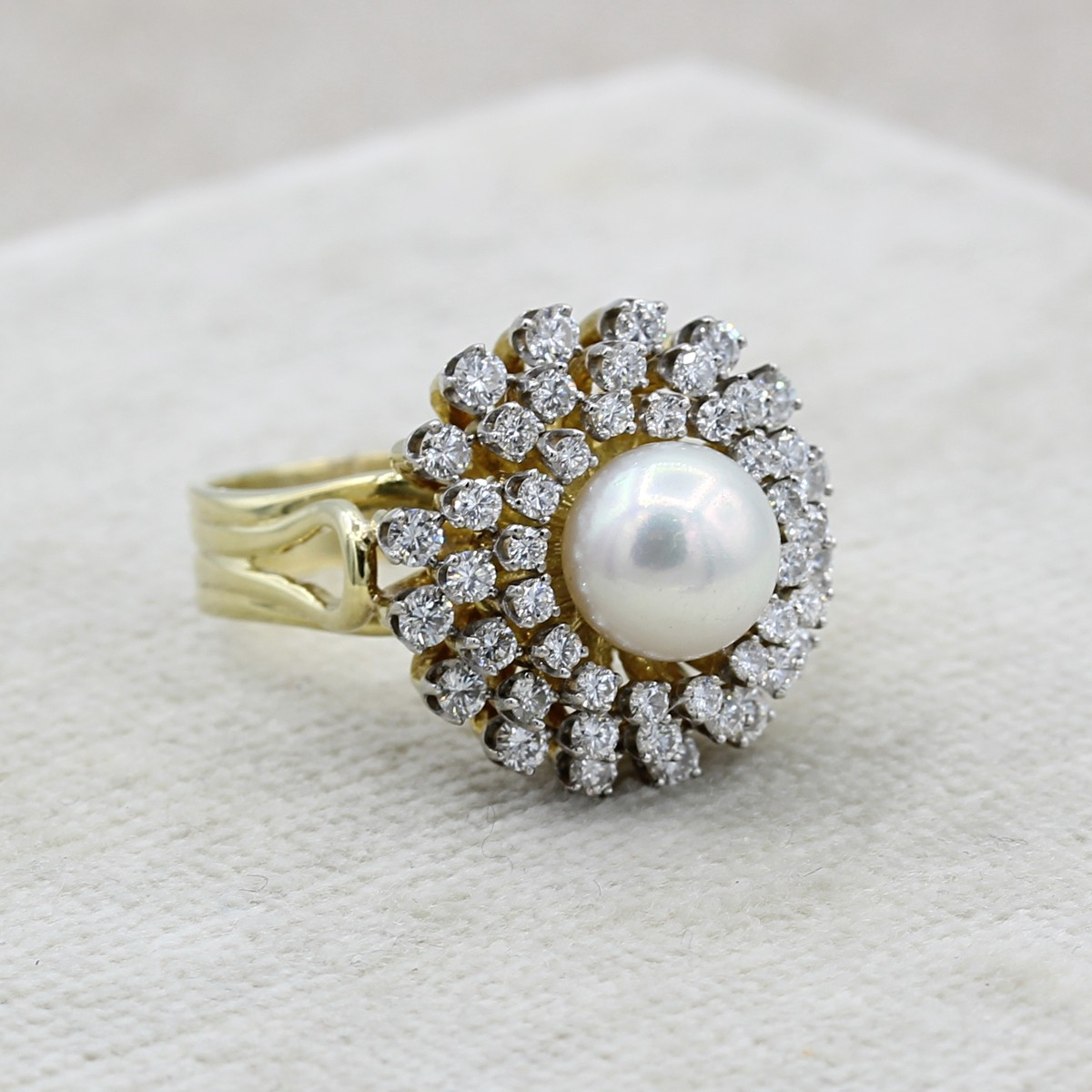 VINTAGE 18K YELLOW AND WHITE GOLD STARBURST RING