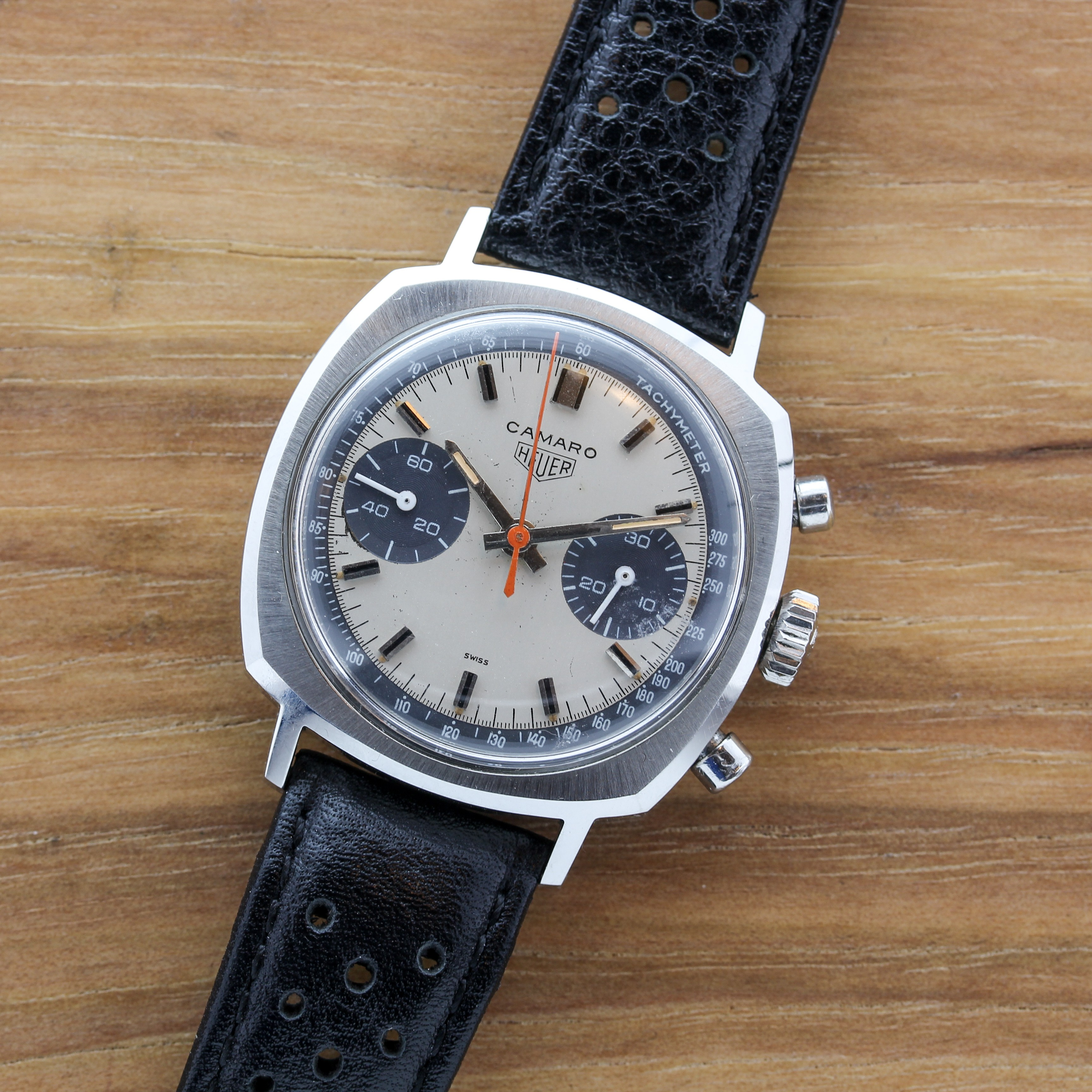 STAINLESS STEEL HEUER CAMARO CHRONOGRAPH WITH EXOTIC DIAL AND STRAP