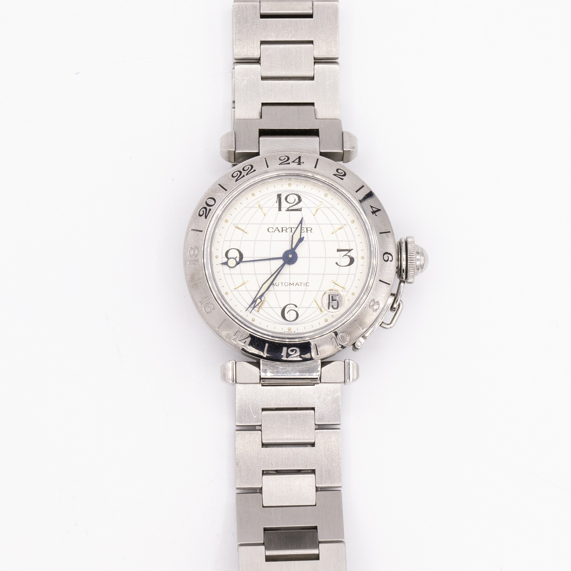 Vintage Cartier Pasha GMT Stainless Steel 35mm