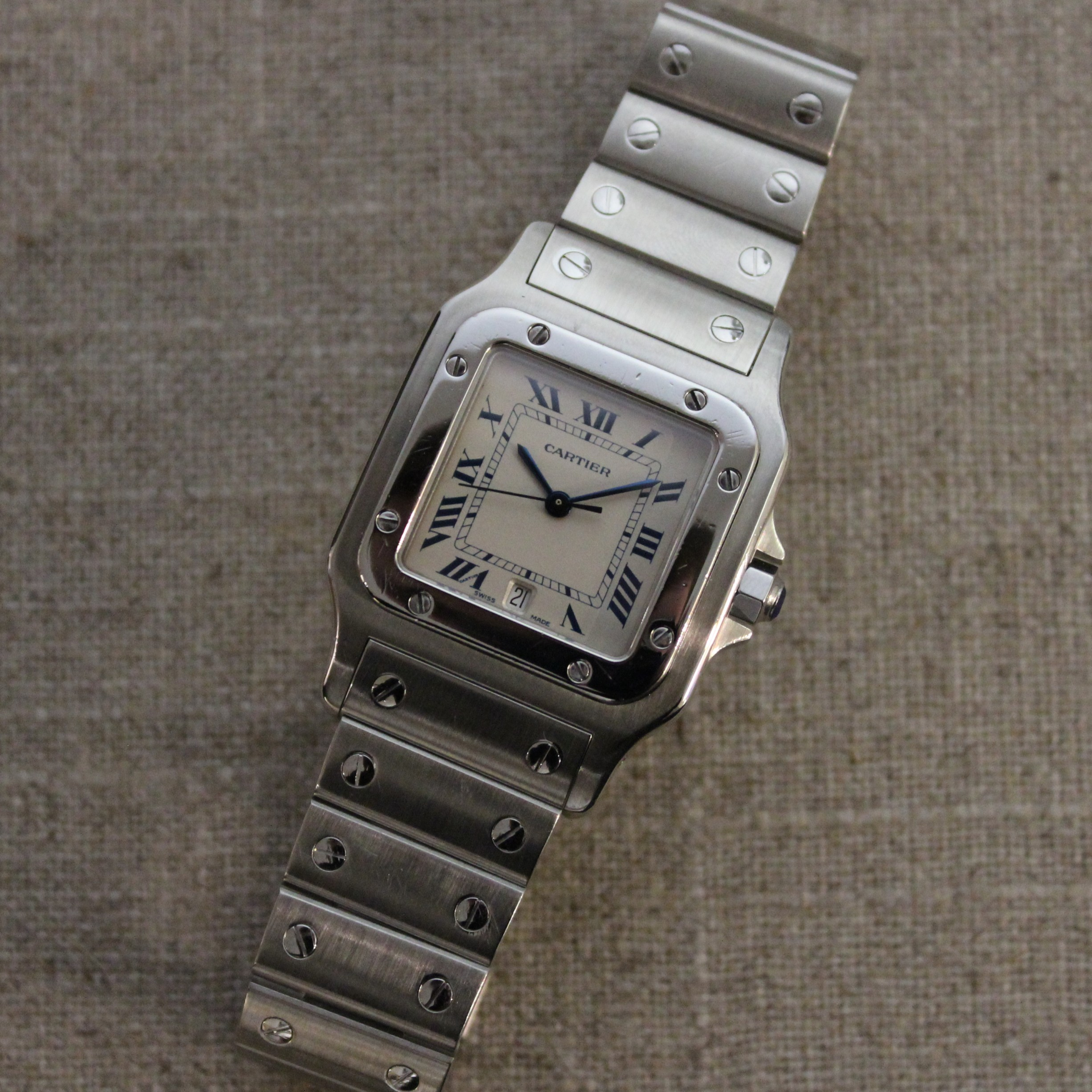 VINTAGE STAINLESS STEEL CARTIER SANTOS