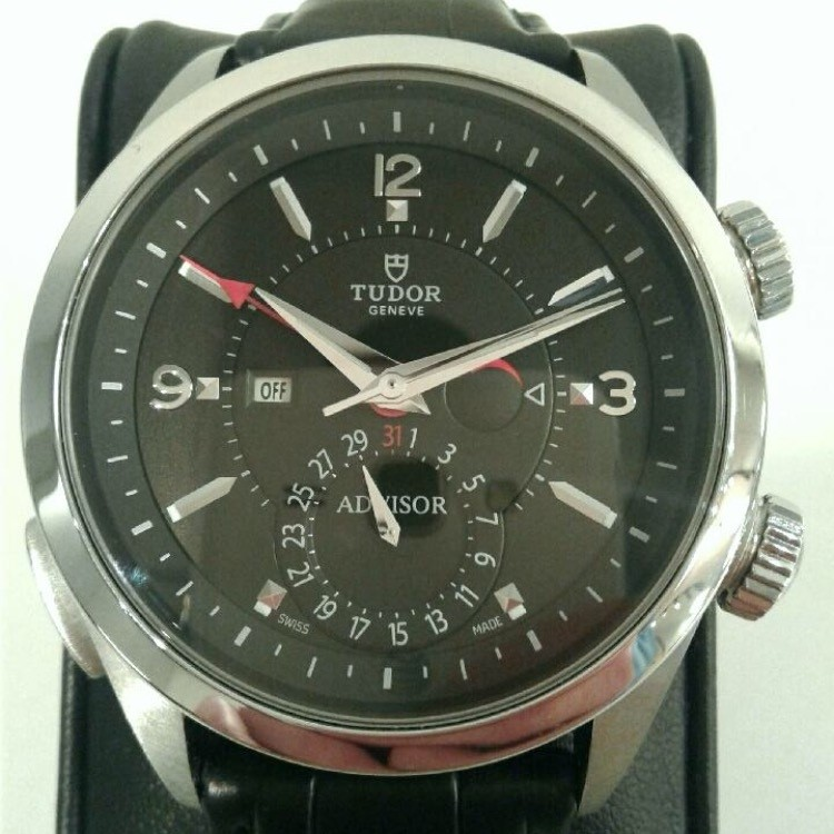 H1912 tudor geneve advisor black arabic dial watch pre owned vintage wristwatch for Tudor geneve watches